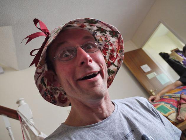 Stef in a delightful bonnet